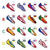 Soccer team shoes. Soccer shoes in national flag colors at Europe 2012 Royalty Free Stock Photography