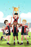Soccer team winning. A vector illustration of a young soccer team celebrating a win and lifting a trophy Stock Photo