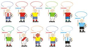Soccer teams of Spain Mexico and South America Royalty Free Stock Photos