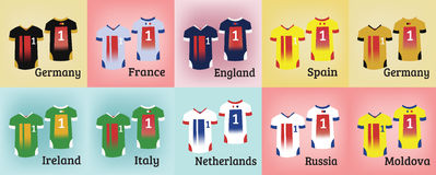 Soccer Teams Uniforms Set Royalty Free Stock Images