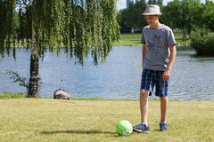 Soccer. A teenage boy prepares to kick his ball Stock Images