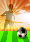 Soccer template with ball and player Royalty Free Stock Image