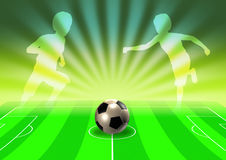 Soccer template with field, ball and player royalty free illustration