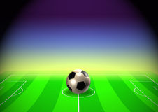 Soccer template with field, ball and player vector illustration
