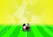 Soccer template with field, ball and player Royalty Free Stock Photography