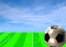 Soccer template with field, ball and player Royalty Free Stock Image