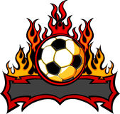 Soccer Template with Flames  Image. Graphic Soccer Ball Image Template with Flames Stock Photography
