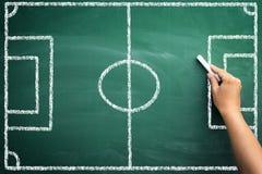 Soccer terrain on chalkboard. Empty soccer field on blackboard, handwriting with chalk for tactic Stock Photography