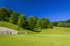 Soccer terrain in nature. Soccer terrain by the forrest Stock Image