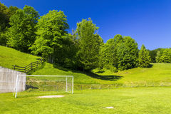 Soccer terrain in nature. Soccer terrain by the forrest Stock Photography