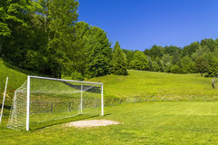 Soccer terrain in nature. Soccer terrain by the forrest Stock Photos