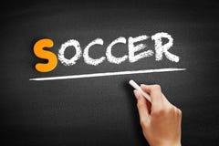 Soccer text on blackboard