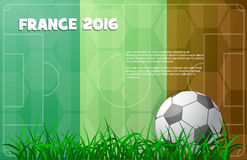 Soccer theme with ball and France flag. Design for Euro Football Cup 2016 in France. Ball on the field with french flag on background Royalty Free Stock Photography