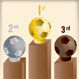 Soccer. Three trophies on a championship with a soccer ball shape Royalty Free Stock Images
