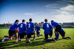 Soccer time out Royalty Free Stock Photography