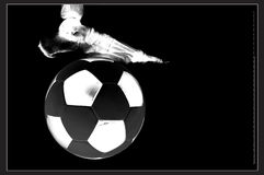 Soccer to the bone. Illustration of a foot and soccer ball x-ray stock illustration