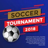 Soccer Tournament 2018 Design Template. With Soccer Ball & Blue Background Royalty Free Stock Image