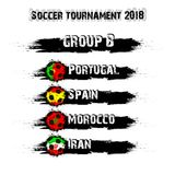 Soccer tournament 2018 group B. Soccer tournament 2018. Football championship group B. Vector illustration Royalty Free Stock Photo