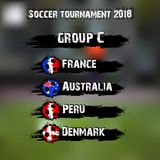 Soccer tournament 2018 group C. Soccer tournament 2018. Football championship group C. Vector illustration Stock Image