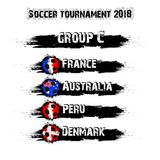 Soccer tournament 2018 group C. Soccer tournament 2018. Football championship group C. Vector illustration Royalty Free Stock Images