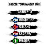 Soccer tournament 2018 group D. Soccer tournament 2018. Football championship group D. Vector illustration Stock Image