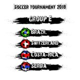 Soccer tournament 2018 group E. Soccer tournament 2018. Football championship group E. Vector illustration Royalty Free Stock Photo
