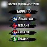 Soccer tournament 2018 group D. Soccer tournament 2018. Football championship group D. Vector illustration Royalty Free Stock Photo