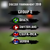 Soccer tournament 2018 group E. Soccer tournament 2018. Football championship group E. Vector illustration Royalty Free Stock Photography