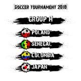 Soccer tournament 2018 group H. Soccer tournament 2018. Football championship group H. Vector illustration Royalty Free Stock Photo
