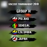 Soccer tournament 2018 group H. Soccer tournament 2018. Football championship group H. Vector illustration Royalty Free Stock Images