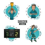 Soccer tournament league. With round symbols cartoons vector illustration graphic design Stock Images