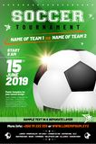 Soccer tournament poster template with sample text in separate l Stock Images