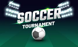 Soccer tournament text with soccer ball and flud lights on playi Stock Photography