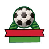 Soccer tournament thropy emblem with ball Royalty Free Stock Image