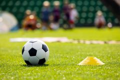 Soccer Training Equipment on a Sports Field. Football Ball and Pylon Disc Cones on a Grass Pitch. Young Players Training Soccer in the Background stock photos