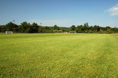 Soccer training grounds. Goal in front of soccer training grounds Stock Photos