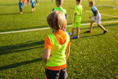 Soccer training session. Single youth soccer player on the pitch Stock Photos
