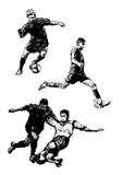 Soccer trio 2. Sketching of the Soccer players Stock Image