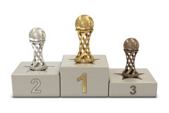 Soccer trophies and podium Royalty Free Stock Photos