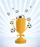 Soccer trophy and balls illustration design Royalty Free Stock Photos