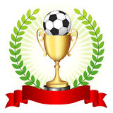 Soccer trophy on glowing background vector illustration