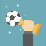 Soccer Trophy. Hand holding the soccer Trophy Stock Illustration