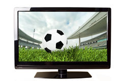 Soccer on TV Stock Photography
