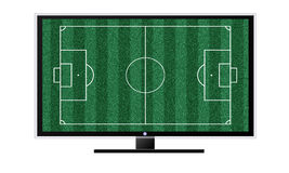 Soccer on TV concept isolated on white. TV, football field background On a white background Stock Photos