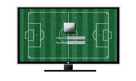 Soccer on TV concept isolated on white. TV, football field background Protection system before Royalty Free Stock Photo