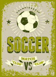 Soccer typographic vintage grunge style poster. Retro vector illustration. Stock Image