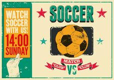 Soccer typographical vintage grunge style poster. Retro vector illustration. Royalty Free Stock Image