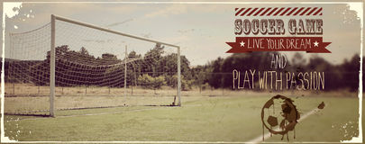 Soccer typography quote vintage banner Stock Images