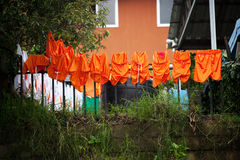 Soccer uniforms drying on the line in Costa Rica Royalty Free Stock Image