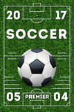 Soccer vector poster template. Banner for sport event with ball illustration Royalty Free Stock Photography